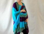 Tie dye purple, green and turquoise swirl light rayon poncho
