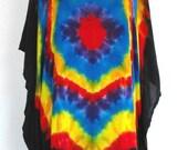 Tie Dye Black Rainbow Poncho