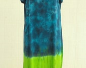 Tie Dye Dress Tunic in Blues and Greens with scarf