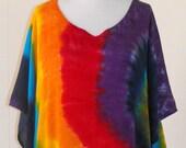 Tie Dye Caftan in Double Rainbow Swirl
