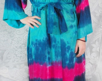 Aquamarine and Cobalt Tie Dye Rayon Robe