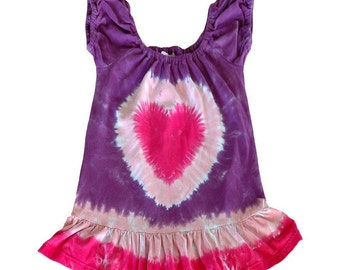 Tie Dye Pink Heart Puff Sleeve Toddler Dress