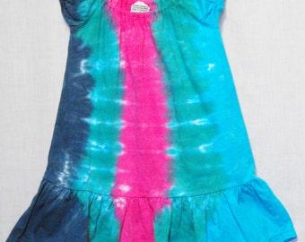 Tie Dye Splash of Pink Striped Puff Sleeve Toddler Dress