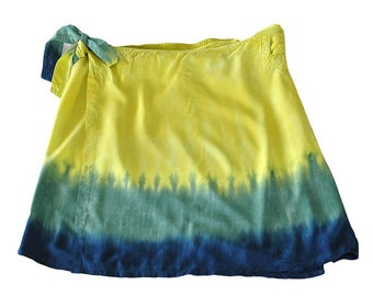 Tie Dye Short  Wrap Skirt in Chartreuse, Green and Cobalt