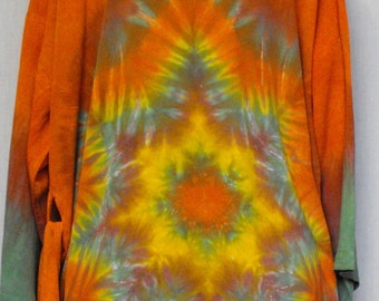 Tie Dye Rayon Robe in Burnt Orange and Sage Green