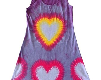 Plus size Tie-Dye Short Cotton Heart Tank Dress