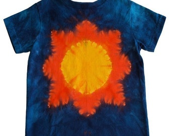 Tie Dye Sun Shirt in Blue, Orange and Yellow for Kids and Toddlers