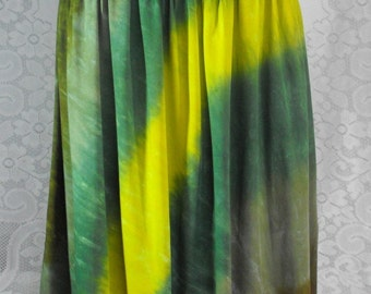 Tie Dye  Skirt in Woodland Greens with Smocked Waist