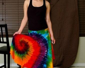 Rainbow Tie Dye Swirl Hobo Hankie Hem Skirt on Etsy