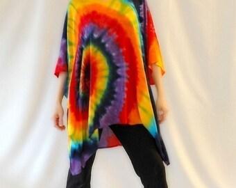 Tie Dye Rainbow Swirl Light Rayon Poncho
