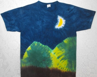 Tie Dye Moon Shirt with Green Mountains