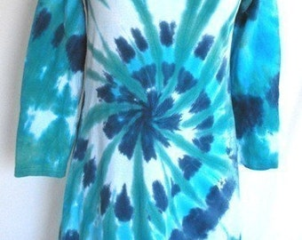 Dress Tied Dyed in Seafoam Blue Swirl