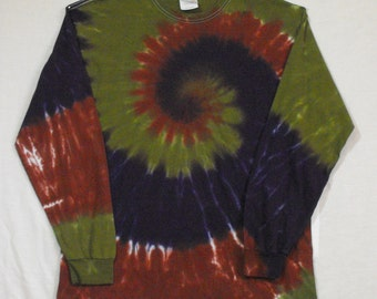 Tie Dye Long-Sleeve Shirt in Brown, Moss Green and Purple