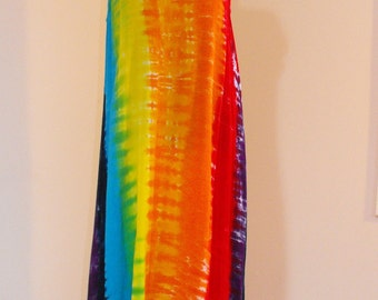 Tie Dye Rainbow Dress Pullover in Rayon Crinkle Gauze