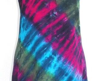 Tie Dye Short Tank Dress in Jewel Tones