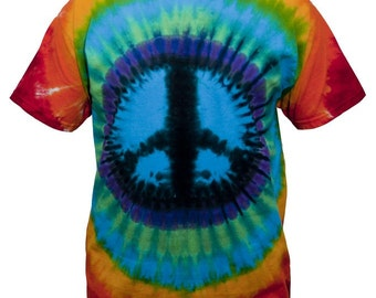 Tie Dye Rainbow Peace Sign T Shirt for Youth