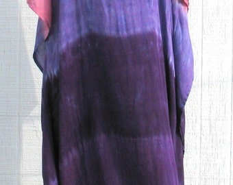 Tie Dye Caftan in Shades of Purple and Pink