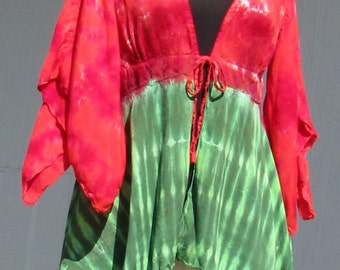 Tie Dye Kimono Sleeve Jacket in Watermelon