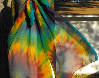 Tie Dye Rainbow Silk Chiffon Sarong or Wrap