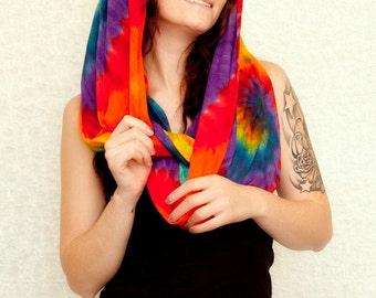 Rainbow Tie Dye  Infinity Scarf