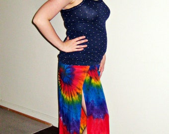 Rainbow Swirl Tie Dye Rayon Wrap Pants