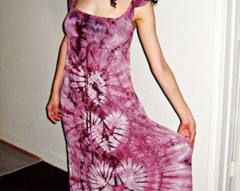 Tie Dye Dress Dusty Rose Regency Hippie Dress in Shibori Hearts
