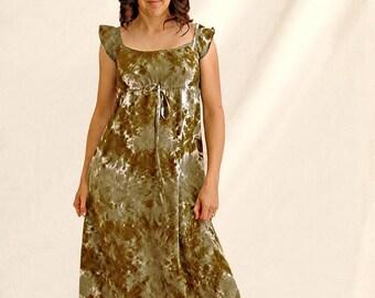 Tie Dye Green Agate Regency Hippie Dress