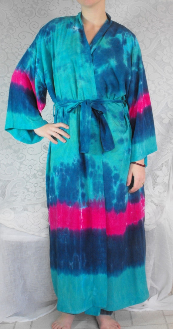 Tie Dye Rayon Robe in Aqua, Cobalt and Fuchsia