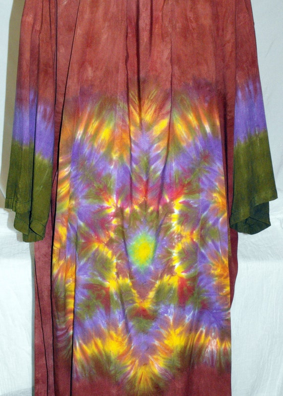 Tie Dye Rayon Robe in Rich Brown, Moss Green and Purple