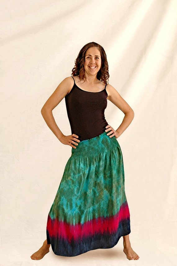 Tie-Dyed Rayon Smocked Skirt in Peacock