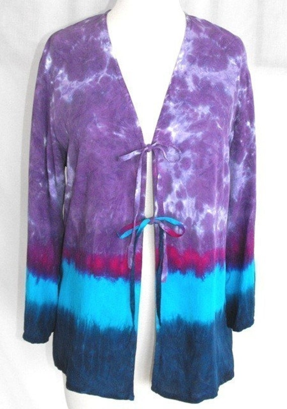Tie Dye Rayon Tie-Front Jacket in Purples, Turquoise and Fuchsia
