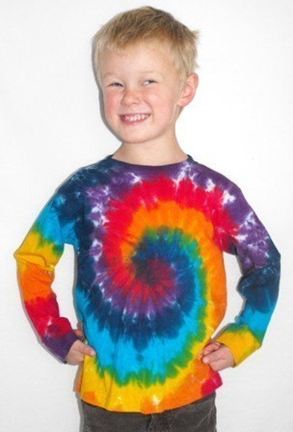 Rainbow Tie Dye Toddler and Youth Long Sleeve T Shirts