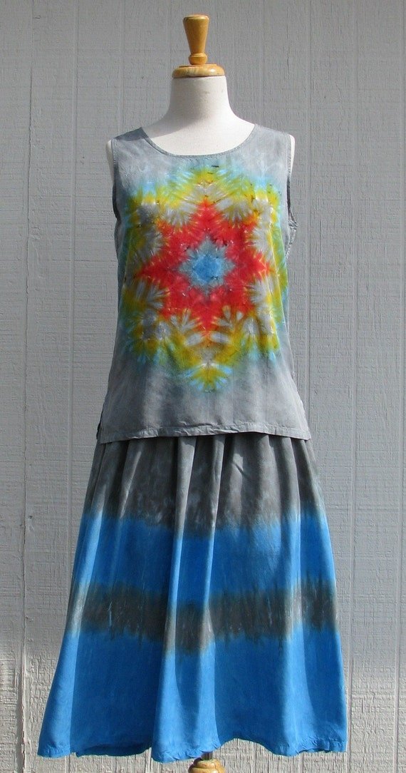 Tie Dye Skirt and Top Combo in Grey and Alpine Blue