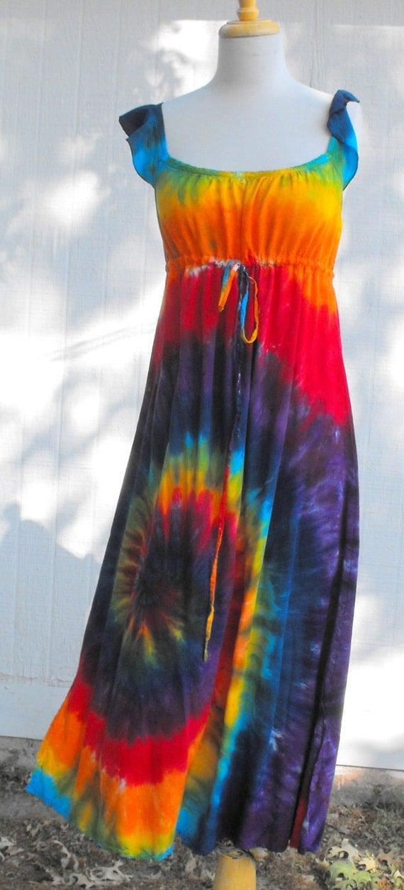 Tie Dye Classic Rainbow Swirl Regency Hippie Dress size XL