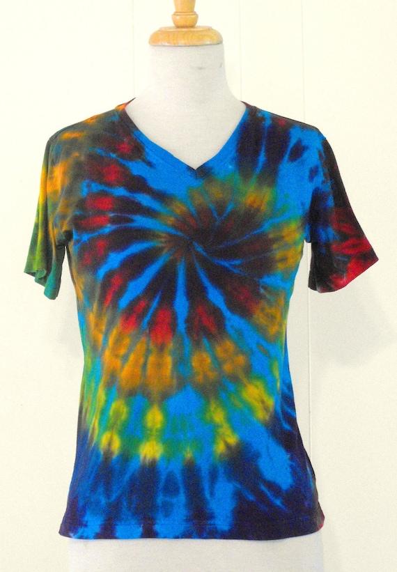 Tie Dye Women's V-Neck Turquoise Rainbow Swirl T Shirt