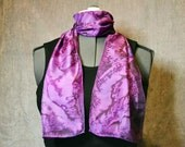 Hand Painted Silk Scarf, Rectangular, in Pink, Purple, and Fuschia