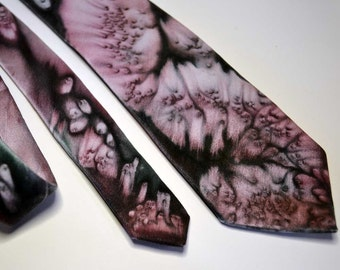 Hand Painted Silk Tie in Black and Pink, with hints of Green and Red