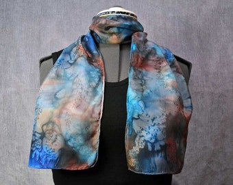 Hand Painted Silk Scarf, Rectangular, in Blue and Brown