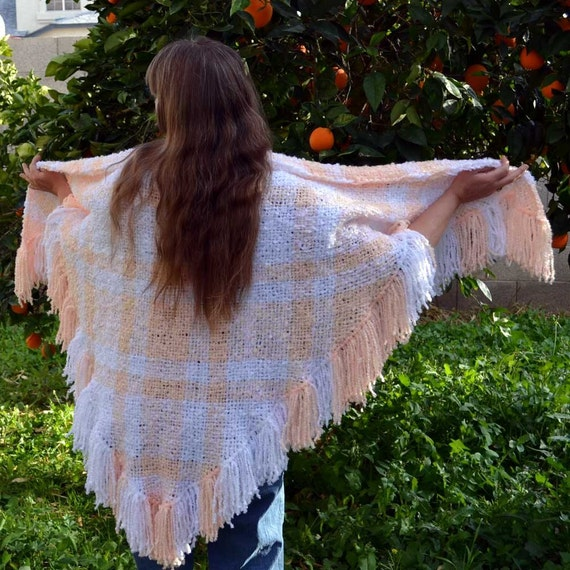 Peach and White Handwoven Triloom Shawl