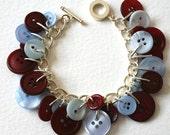Button Bracelet Pale Blue and Burgundy