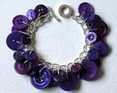 Button Bracelet Deep Purple Mix