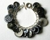 Gray Sky Rainy Days Button Bracelet