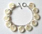 Mother Of Pearl Antique Button Sterling Silver Charm Bracelet