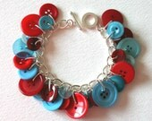 Red and Aqua Button Charm Bracelet