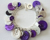 Button Bracelet Purple and White Spring Crocus