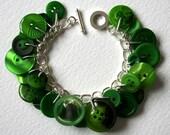 Button Bracelet Lush Green Leaves