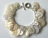 Button Bracelet Winter Wonderland White and Cream
