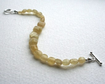 Sterling Silver and Yellow Aquamarine Bracelet