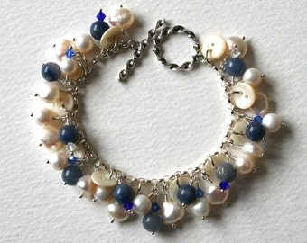 Antique Button Sterling Silver Pearl Bracelet Something Blue