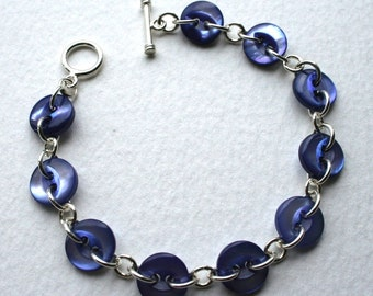 Blue Vintage Mother Of Pearl Button Bracelet Sterling Silver